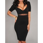 Alluring Solid Color Plunging Neck Short Sleeves Bodycon Dress For Women black