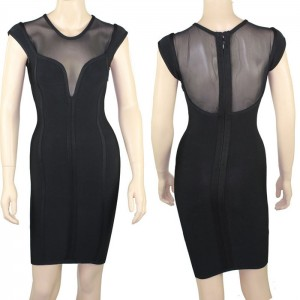 Alluring Splicing Design Sleeveless Bodycon Bandage Dress For Women black