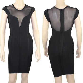 Alluring Splicing Design Sleeveless Bodycon Bandage Dress For Women black