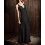 Alluring Strap Plunging Neck Gemstone Ruched Back Cross Sleeveless Maxi Dress black red white