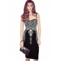 Artistic Silver Print Black Midi Dress