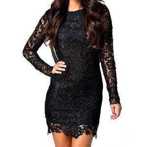 Backless Long Sleeve Round Collar Openwork Design Mesh Splicing Lace Dress For Women black