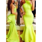 Backless Sexy Style Sleeveless Flouncing Fish Tail Women's Maxi Dress yellow