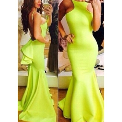 Backless Sexy Style Sleeveless Flouncing Fish Tail Women's Maxi Dress yellow
