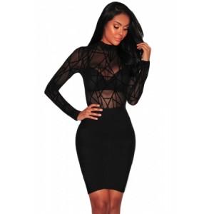 Black Sheer Mesh Geometric Velvet Bodysuit
