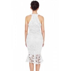 Black Sleeveless Lace Fishtail Bodycon Dress Red Navy White