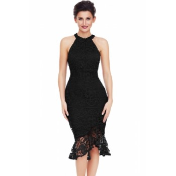 Black Sleeveless Lace Fishtail Bodycon Dress Red Navy White