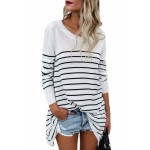 Black Striped Knit Pullover Sweater Top Wine Navy Gray khaki White