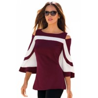 Black White Colorblock Bell Sleeve Cold Shoulder Top Blue Red