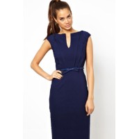 Blue Pencil Midi Dress with Belt
