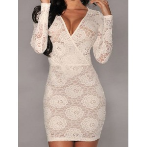 Bodycon Crochet Flower Packet Buttock Sexy Style V-Neck Long Sleeve Women's Dress black white