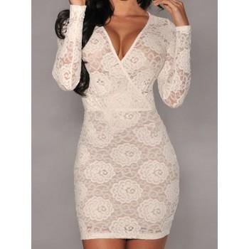 Bodycon Crochet Flower Packet Buttock Sexy Style V-Neck Long Sleeve Women's Dress black white
