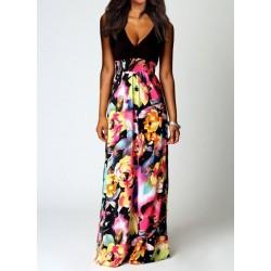 Bohemian Women's Plunging Neckline Sleeveless Floral Print Dress