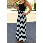 Bohemian Women's Scoop Neck Sleeveless Wavy Dress black