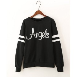 Casual Style Round Collar Long Sleeve Letter Print Sweatshirt For Women black
