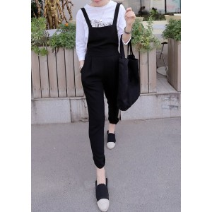 Casual Style Solid Color Pocket Design Overalls For Women black