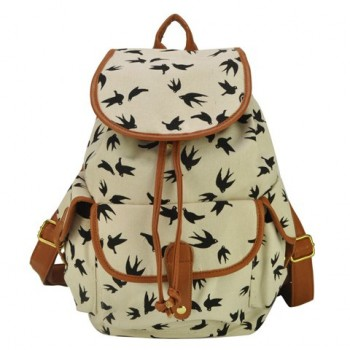 Casual Women's Canvas Satchel With Drawstring and Printed Design white black blue