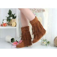 Causal Women's Boots With Tassels and Studs Design brown black