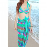 Chic Style Halterneck Ruffled Colorful Printing Three-Piece Swimsuits For Women green purple