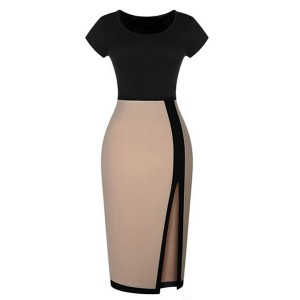 Color Block Short Sleeve Round Collar Slit Side Design Dress For Women Beige