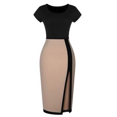 Color Block Short Sleeve Round Collar Slit Side Design Dress For Women Beige
