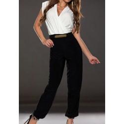 Color Block Waisted Corset Stylish V-Neck Sleeveless Women's Jumpsuits white red