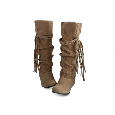 Concise Women's Boots With Tassels and Pure Color Design black pink white