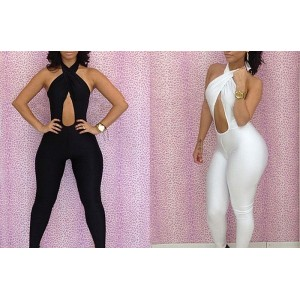 Criss-Cross Hollow Out Backless Sexy Polyester Solid Color Jumpsuit For Women black white
