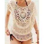 Cute Women's Scoop Neck Batwing Sleeve Openwork Smock white
