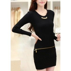 Cute Women's Scoop Neck Long Sleeve Black Zippered Dress black