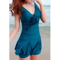 CuteWomen's V-Neck Ruffled One-Piece Swimsuit blue pink purple