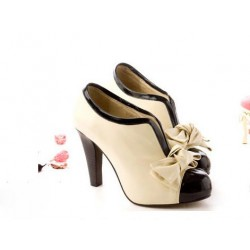 Elegant and Sexy Style Bowknot Embellished High-Heeled Ankle Boots For Female beige