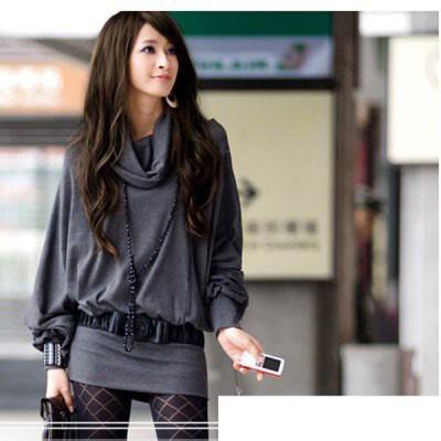 Elegant Special Collar Frills Long Sleeves Cotton Blends Dress For Women gray