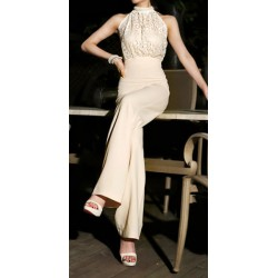 Elegant Style Turtle Neck Beaded Lace Splicing Cut-Out Back Jumpsuit For Women nude