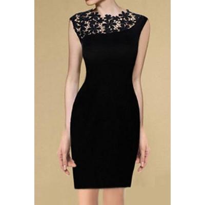Elegant Women's Round Neck Lace Splicing Sleeveless Black Dress