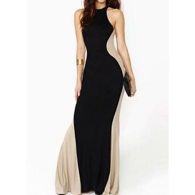 Elegant Women's Round Neck Sleeveless Color Block Dress black nude