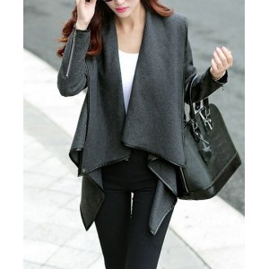 Elegant Women's Turn-Down Collar Long Sleeve Ruffled Coat blue gray
