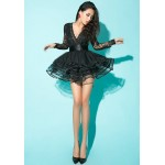 Enchanting Low-Cut Long Sleeve Lace Sexy Black Dress For Women black