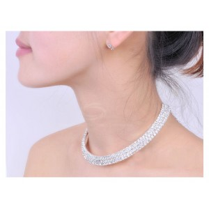 Fashion and Gorgeous Rhinestone Embellished Necklace silver