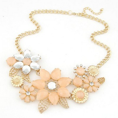 Fashion Sweet Resin Rhinestone Flower Pendant Necklace For Women pink white