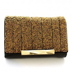 Fashion Women's Clutch Wallet With Hasp and Beading Design GOLDEN
