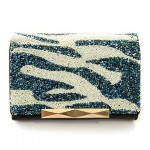 Fashion Women's Clutch Wallet With Zebra Print and Beading Design BLUE BLACK