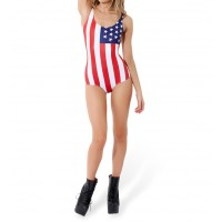 Fashionable American Flag Print Color Matching One-Piece Swimsuit For Women USA