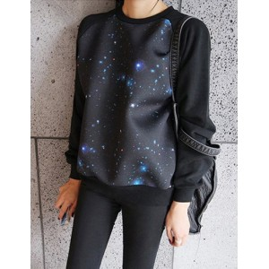 Fashionable Round Collar Long Sleeve Spliced Printed Sweatshirt For Women black