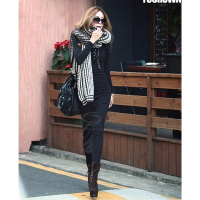 Fashionable Solid Color Long Sleeves Dress For Women black