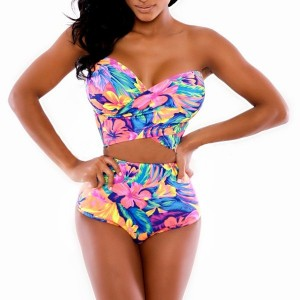Floral Print High-Waisted Fashionable StraplessWomen's Bikini Set