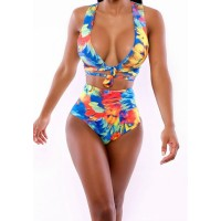Floral Print High-Waisted Sexy Plunging Neck Women's Bikini Set