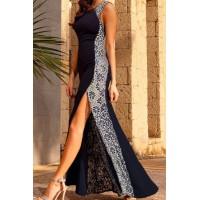 Floral Print Splicing Furcal Stylish Round Collar Sleeveless Women's Maxi Dress blue