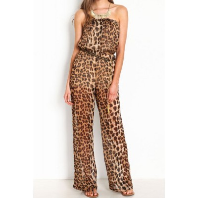 Full Leopard Print Sexy Style Strapless Women's Jumpsuits