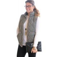 Gray Zipped Quilted Vest with Pockets Black Coffee